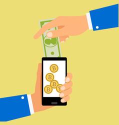 convert dollar to bitcoin coins vector image