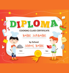 Cooking class diploma design vector