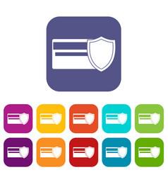 credit card and shield icons set vector image