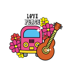Cute hippie minibus with flowers and guitar vector