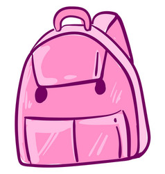 Cute pink backpack on white background vector