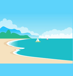 Cute sea coast color banner vector