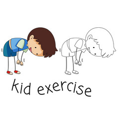Doodle boy exercise character vector