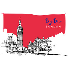 drawing sketch big ben vector image