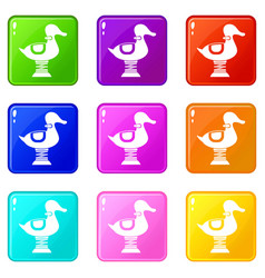 Duck spring see saw set 9 vector