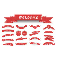 Embroidered soft red vintage ribbons and stumps vector