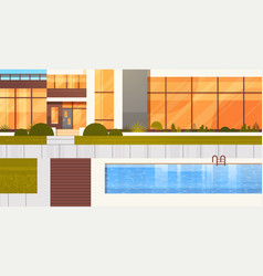 Entrance to luxury villa or hotel with swimming vector