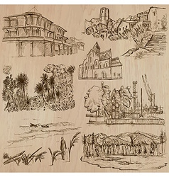 Famous places and architecture - hand drawn vector