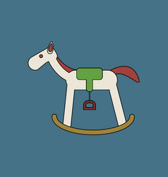 Flat icon design collection kids rocking horse vector