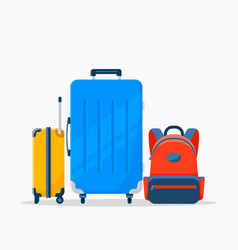 Flat three travel suitcases isolated on the vector