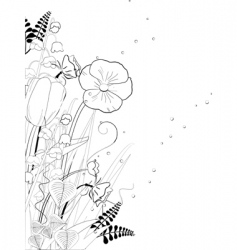 floral ink sketch vector image