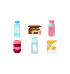 Food icons set grocery products in plastic and vector