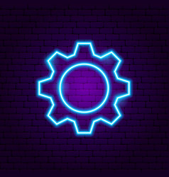 gear neon sign vector image