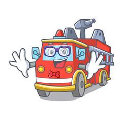 Geek fire truck character cartoon vector