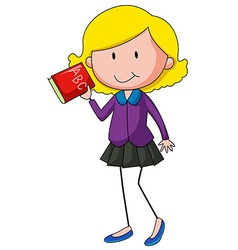 Girl holding English alphabet book vector