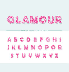 Glitter confetti pink font isolated on white vector