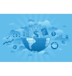 Global Markets blue vector image