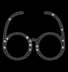 Glowing mesh 2d spectacles with flash spots vector