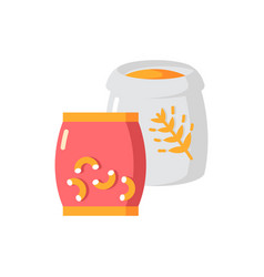 Grain and pasta flat color icon vector