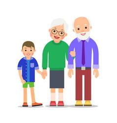 grandparents and grandchildren grandma grandpa vector image