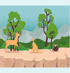 Group three animals wild in savannah scene vector