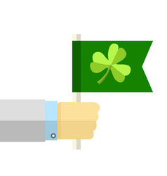 hand with green flag with clover cartoon vector image