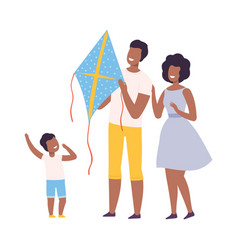 Happy african american family having fun with vector