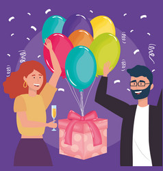 happy birthday copule with gift balloons drink vector image