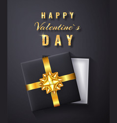 happy valentines day golden glitter sparkle gift vector image