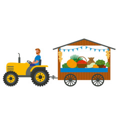 Harvester and products on counter fair vector