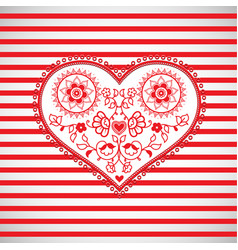 Heart shape ornament on red striped background vector