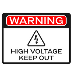 High voltage sign on white background red warning vector