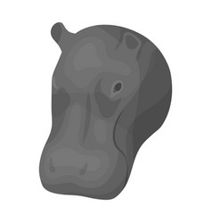 Hippopotamus icon in monochrome style isolated on vector