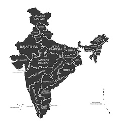 India map with labels black vector