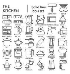 kitchen line icon set cooking symbols collection vector image