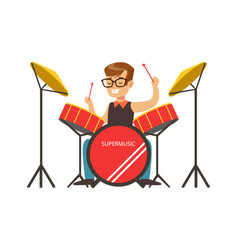 little boy playing drums little drummer colorful vector image