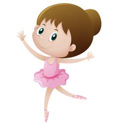 Little girl in pink dancing ballet vector