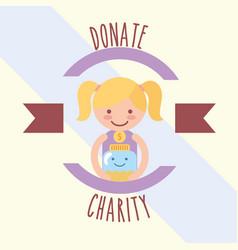 Little girl with kawaii jar coins donate charity vector