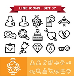 Love lne icons set 37 vector