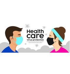 man and woman with face mask health care vector image