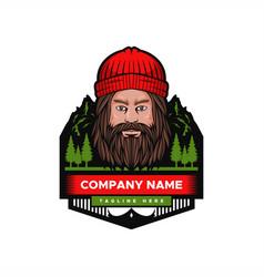 mountain man badge vector image