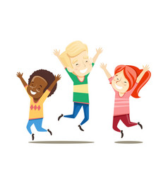 multiracial boys and girls jump happy vector image