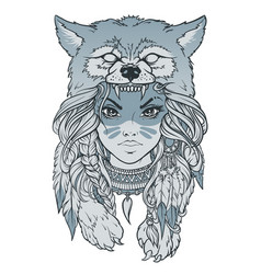 native american girl with wolf headdress vector image