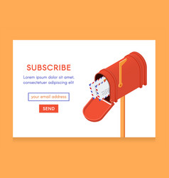 Online newsletter template email subscribe form vector