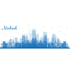 Outline madrid spain city skyline with blue vector