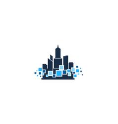 pixel town logo icon design vector image