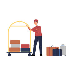 porter man character with luggage trolley flat vector image