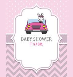 rabbit girl in pink car vector image