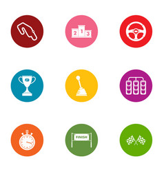 Rapid motion icons set flat style vector