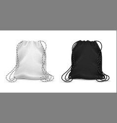 realistic drawstring bags blank black and white vector image